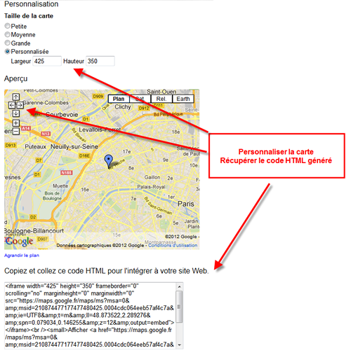 Tutoriel Google Maps Joomla - Personalisation du plan
